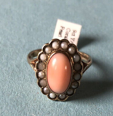 9ct Gold Salmon Pink Coral And Cultured Pearl Cluster Ring. Birmingham 1990. • 250£