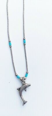 Native American Sterling Liquid Silver Dolphin Necklace • 12£