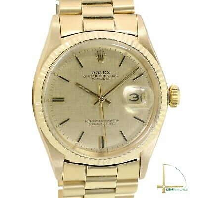$ CDN13279.51 • Buy Rolex Datejust Mens 36mm 18KY Gold Champagne Linen Index Fluted President Watch