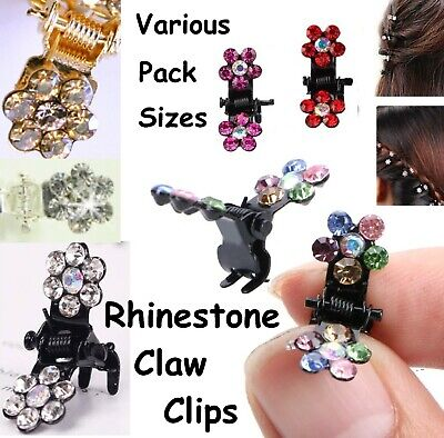 Mini Hair Claw Clips Sparkly Diamante Rhinetsone Floral Grips Party Silver Gold  • 2.39£