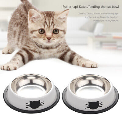 2x Pet Dog Puppy Cat Feeding Bowls Stainless Steel Food Water Bowl Cute Cat Claw • 6.59£