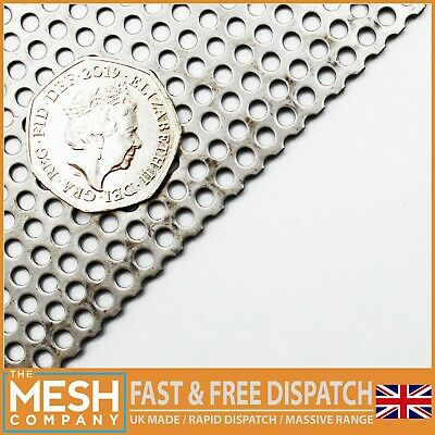 Mild Steel (3mm Hole X 5mm Pitch X 1mm Thick) Round Perforated Mesh Sheet Plate • 3.50£
