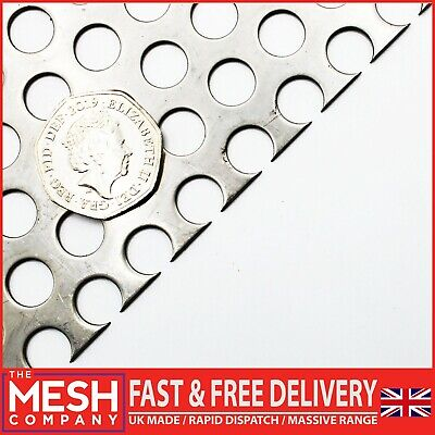 £5.30 • Buy SS304 Round (10mm Hole X 15mm Pitch X 1.5mm Thick) Perforated Mesh Sheet Plate