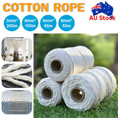 AU17.92 • Buy 3/4/5/6mm Natural Cotton Rope Cord String Twisted Craft Macrame Artisan Beige AU