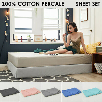 AU48.80 • Buy 100% Cotton Percale All Size 1000TC 4pc Flat Fitted Matt Sheet Set Pillowcase