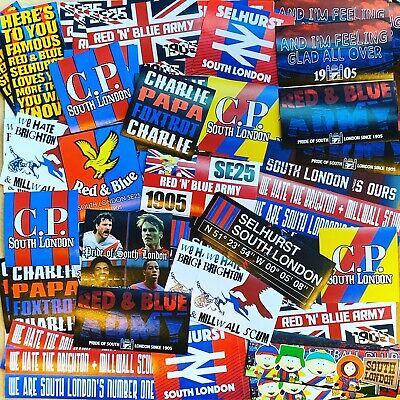 £13.49 • Buy 100 X Crystal Palace Ultra Stickers Based On Programme Scarf Pin Badge CPFC Flag