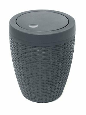 Addis Faux Rattan Round Swing Lid Bathroom Bin, Charcoal • 25.61£