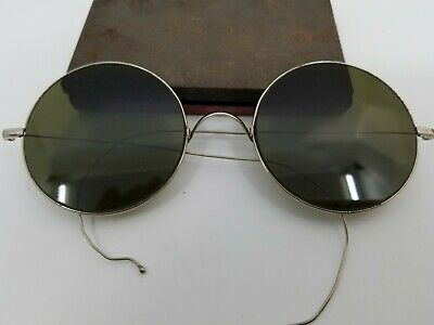 $85 • Buy Vintage Willson Sunglasses Steampunk Motorcycle Round Lens Lennon Style Wire