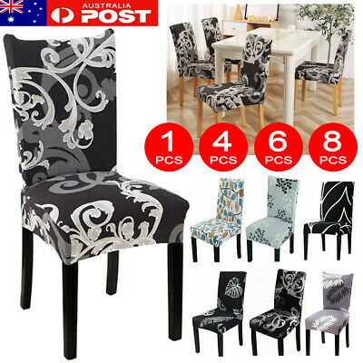 AU32.99 • Buy 1-8PCS Dining Chair Seat Covers Spandex Slip Cover Stretch Wedding Banquet Party