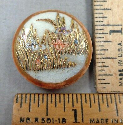 $24.99 • Buy SATSUMA Antique BUTTON, Painted Porcelain REEDS & WATER LILIES, 1900ish