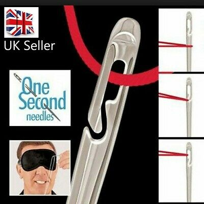 Gold 12 SELF THREADING SEWING NEEDLES - ASSORTED SIZES - EASY THREAD - UK Seller • 2.89£
