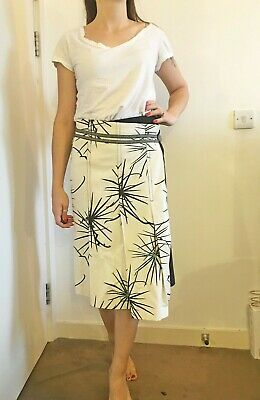 St-Martins Scandinavian Designer Maxi Midi Pleated Skirt 8 S Floral Embroidered • 18.22£