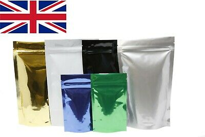 Shiny Stand Up Pouches Heat Seal Resealable Zip Lock Food Grade Mylar Glossy Bag • 1.99£
