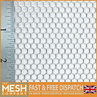 £3.70 • Buy Mild Steel Hexagonal (4mm Hole X 4.5mm Pitch X 1mm Thick) Perforated Mesh Sheet
