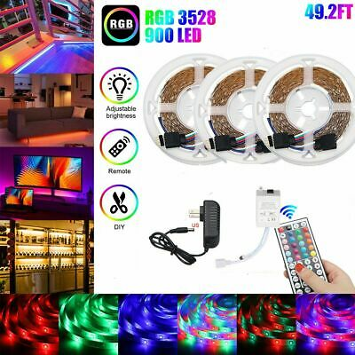 $29.99 • Buy 49FT Flexible Strip Light 3528 RGB LED SMD Remote Fairy Lights Room TV Party Bar