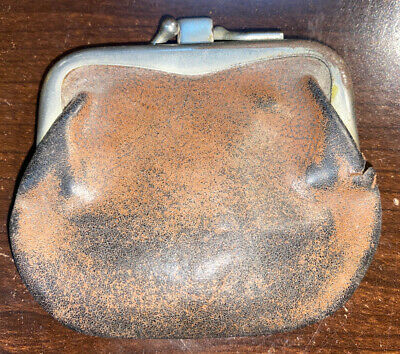 $16.99 • Buy Vintage Leather Snap Latch Two Pocket Coin Purse