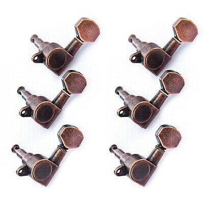 $ CDN20.07 • Buy 6L Guitar String Inline Tuning Pegs Locking Tuners Keys Machine Heads Red Bronze