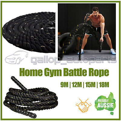 AU95 • Buy 9m-12m-15m-18m-20m - Battle Rope 38mm Diameter - Home Gym Strength Bootcamp