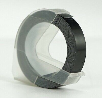 BLACK Embossing Tape Cassette Cartridge, 9mm By 3m For DYMO Embosser Labellers • 2.95£
