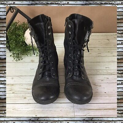$26.99 • Buy AMERICAN RAG Black Buckle Combat Boots Zip Side Lace Up Women Size 6 Man Made