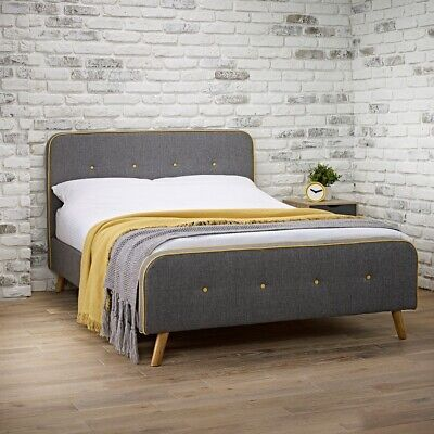 MILANO Double Bed 4ft6 Flannel Grey With A Contemporary Yellow Trim And Buttoned • 254.99£