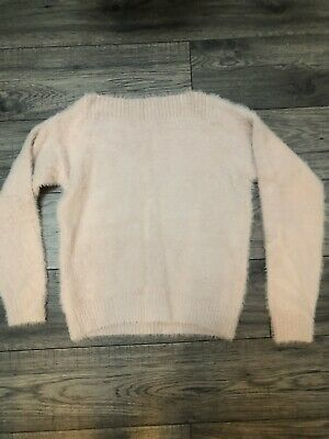 New Look Girls Pink Fuzzy Cosy Off The Shoulder Jumper Sweater Age 12-13 • 5£