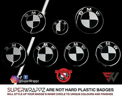 £9.99 • Buy 4 BADGE BLACK & SILVER CARBON Overlay VINYL WRAP FOR BMW HOOD BOOT @FITS ALL BMW