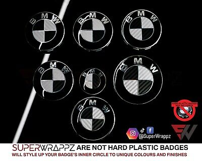 £9.99 • Buy SILVER & BLACK CARBON Badge Overlay WRAP FOR BMW HOOD BOOT WHEELS @FITS ALL BMW@