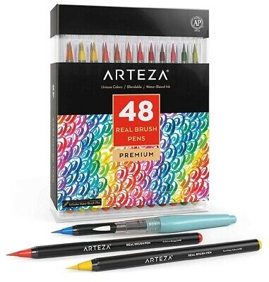 $36 • Buy Arteza Real Brush Pens With Flexible Nylon For Watercolor Painting 48 Pcs