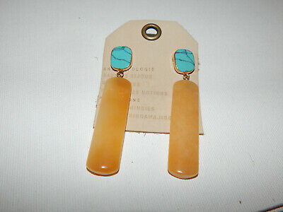 $ CDN46.69 • Buy Earrings  Stone Semi Precious Anthropologie Turquoise Straw Dangle Resin $48 Nwt