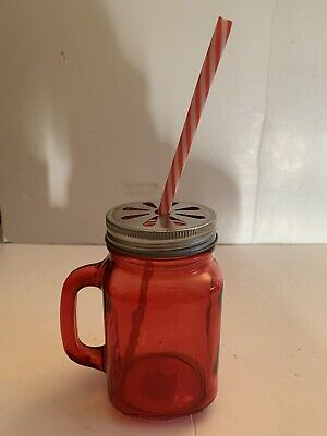 Red Glass Mason Jar With Metal Lid And Plastic Red Stripe Straw • 7.99£
