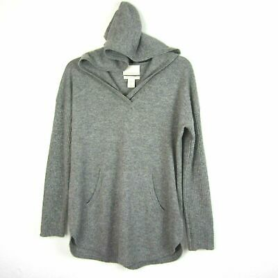 $42 • Buy EUC Cynthia Rowley Size S Gray 2-Ply Cashmere Hoodie Sweater Long Sleeve V Neck