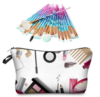 AU39.95 • Buy Unicorn 20 Pce Makeup Brush Set With Makeup Bag Vegan NEW Many Brush Colours