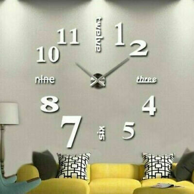 Modern Wall Clock 3D Sticker Decor DIY Number Mirror Office Home Room Art Decal • 10.23£