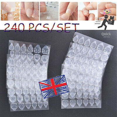 10 Sheets Adhesive Glue Tape Tabs Double-Sided For False Fake Nail Tips • 4.97£