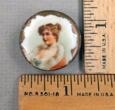 $24.99 • Buy VICTORIAN FLOOZY WOMAN, Hand Painted Porcelain STUD Style BUTTON, 1800s, WOW