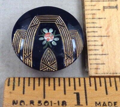 $19.99 • Buy VICTORIAN GLASS BUTTON #46, 1800s Painted Floral / Geometric Design, Dark Blue