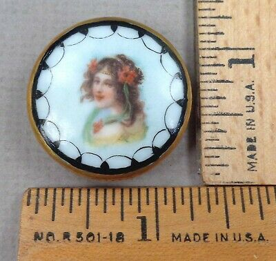 $34.99 • Buy VICTORIAN WOMAN #9, Hand Painted Porcelain STUD Style BUTTON, 1800s, WOW