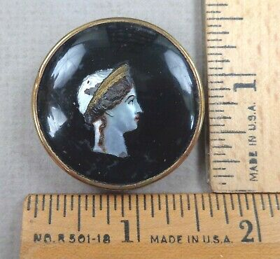 $64.99 • Buy WOMAN Or QUEEN HEAD Antique BUTTON, Painted Pearl Under-Glass, Set In Brass