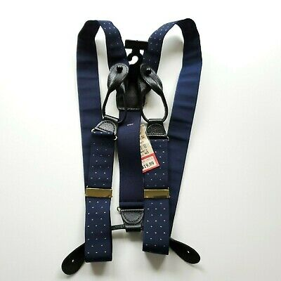 $19.99 • Buy TAILORS ROW SUSPENDERS Navy Blue Gold Dots NWT
