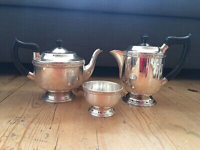 £30 • Buy Vintage Viners Of Sheffield Silver Plated Alpha Plate Tea Coffee Set - 3 Pieces
