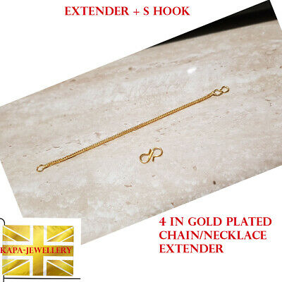 £5.99 • Buy 18k Yellow Gold Extender / Safety Chain Bracelet Necklace  4.5 In +  Hook Extend