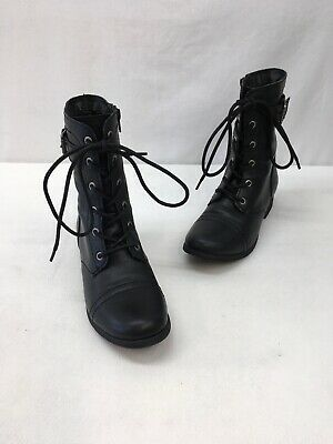 $14.99 • Buy American Rag Black Faux Leather Lace Up Combat Boots Size 6.5M  L1175 MY/