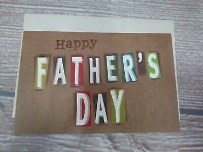 $2.25 • Buy New!  Happy Father's Day  Greeting Card & Envelope Letters Brown Tan Generic