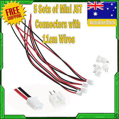 AU7 • Buy 5 Sets Mini Micro JST XH 2.5-2 Pin Connector Plug With Wires Cables 11cm