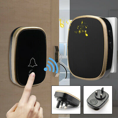 Waterproof Wireless Digital Doorbell Wall Plug-in Cordless Door Chime 300m Range • 10.99£