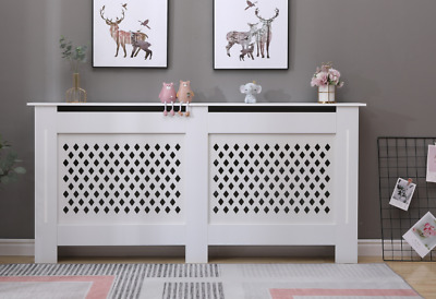 Cambridge Modern Radiator Cover Wood MDF Wall Cabinet In White 4 Sizes • 39.99£