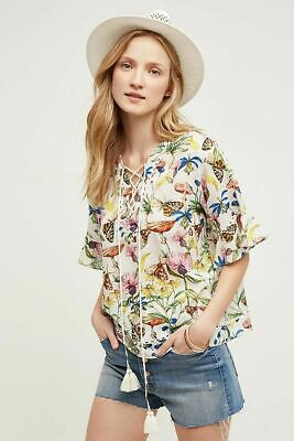 $ CDN71.25 • Buy NWT Anthropologie TRYB Floral & Fauna Floral Butterfly Organic Bamboo Blouse, XS