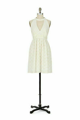 $ CDN65 • Buy NWT Anna Sui Anthropologie Ivory Cotton Eyelet Halter Fit Flare Dress, Size 8