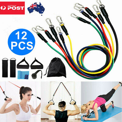 AU18.99 • Buy 12PCS Resistance Bands Set Elastic Tube Exercise Rope Heavy Duty Strap Strength